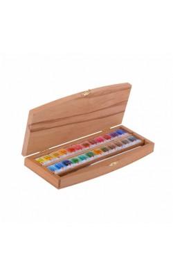 """Набор акварельных красок """"Белые Ночи"""", 24 кюветы, в коробке из бука с кистью"""