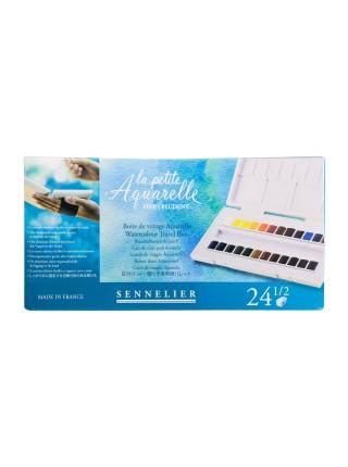 """Набор акварели """"Sennelier"""" La Petite Aquarelle, для путешествий в полукюветах, 24 цвета"""