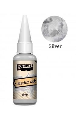 """Красящие чернила для декорирования """"Pentart"""", серебро, 20 мл"""