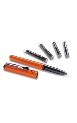 Ручка-кисть Brush Pen для каллиграфии в оранжевом корпусе (в комплекте 4 картриджа)