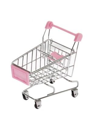 Тележка для покупок (металл, розовый пластик), 12x11см