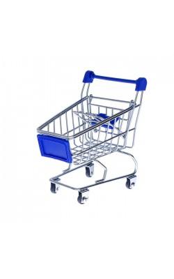 Тележка для покупок (металл, синий пластик), 12x11см