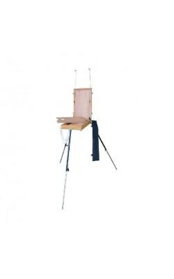 Этюдник деревянный (вяз), размер 46х33х7 см, с алюминиевыми ножками и палитрой