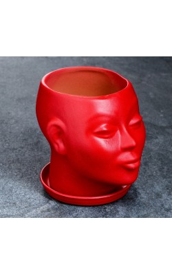 """Фигурное кашпо """"Голова"""", красный, 15 см"""