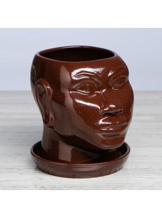 """Кашпо """"Голова африканки"""", глазурь, коричневый, 1,4 л"""
