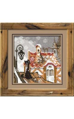 """Набор для вышивания крестом """"Город и кошки. Зима"""", 13*13 см"""