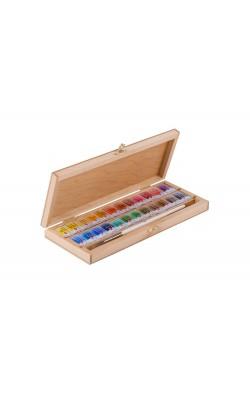 """Набор акварельных красок """"Белые Ночи"""", 24 кюветы, в деревянной коробке с кистью"""