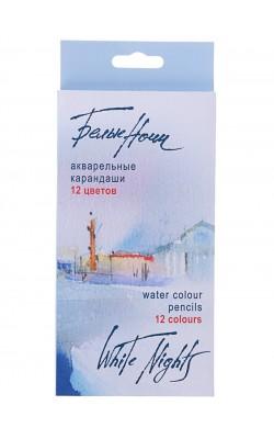 """Набор акварельных карандашей """"Белые Ночи"""", 12 цветов, круглые, заточенные, картонная коробка"""