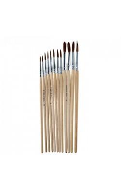Набор кистей из белки, круглые, 12 шт: №1, 2, 3, 4, 5, 6, 7, 8, 9, 10, 11, 12, с деревянными ручками