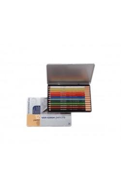 """Набор пастельных карандашей """"Van Gogh"""" Стартовый, 12 цветов, металлический пенал"""