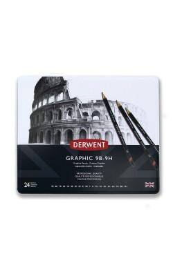 """Набор чернографитных карандашей """"Derwent"""" Graphic , 9B-9H, 24 шт, металлический пенал"""