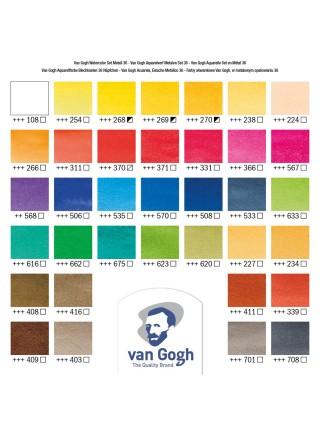 """Набор акварельных красок """"Van Gogh"""", 36 кювет, металлическая коробка, кисть"""