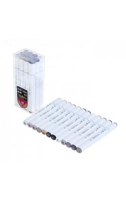 Набор маркеров TOUCH BRUSH, двусторонние (долото/мягкая кисть), 12 штук, теплые серые