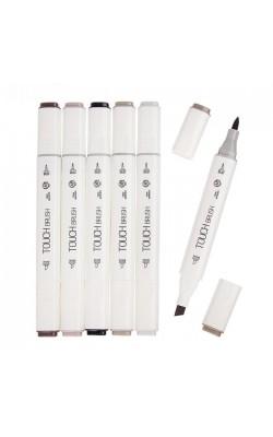 Набор маркеров TOUCH BRUSH, двусторонние (долото/мягкая кисть), 6 штук, оттенки серого