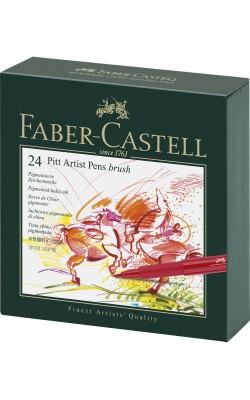 """Набор капилярных ручек """"Faber-Castell"""" Pitt Artist Pen, 60 цветов, в студийной коробке из кожзама"""