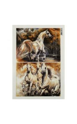 """Декупажная карта """"Бегущие лошади"""", 54 г/м2, А4"""