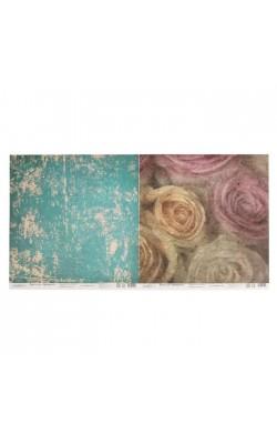 "Бумага для скрапбукинга двусторонняя ""Винтаж. Розы и краска"", 30,5х30,5 см,  190г/м2"