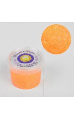 """Слайм """"Стекло"""" с оранжевыми неоновыми блестками 100 гр. в банке"""