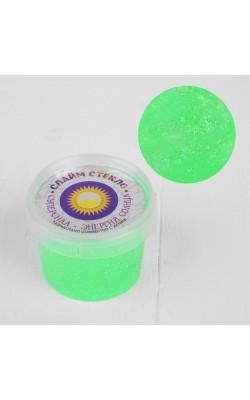 """Слайм """"Стекло"""" с зелёным неоновыми блестками 100 гр. в банке"""