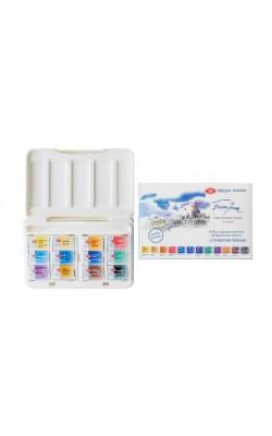"""Набор акварельных красок """"Белые Ночи"""" Городской пейзаж, 12 кювет, в пластиковой коробке"""