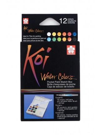 """Набор акварельных красок """"Sakura"""" Koi, 12 кювет, в пластиковой коробке"""