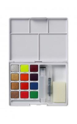 """Набор акварельных красок """"Sakura"""" Koi, 12 кювет (металлики + флуоресцентные), в пластиковой коробке"""