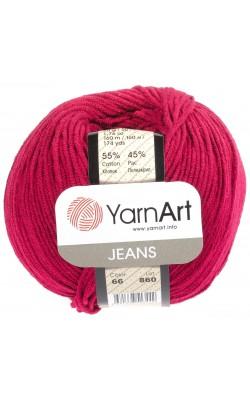 "Пряжа Yarn art ""Jeans"" 50гр. 160м. (55%хлопок, 45%ПАК) 66 бордо"