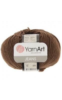 """Пряжа Yarn art """"Jeans"""" 50гр. 160м. (55%хлопок, 45%ПАК) 70 темно-коричневый"""