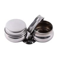 Масленка двойная металлическая с крышками, d:42мм, h:20мм