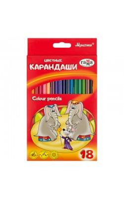"""Карандаши цветные Гамма """"Мультики"""", 18цв., трехгранные, заточенный., картон, европодвес"""