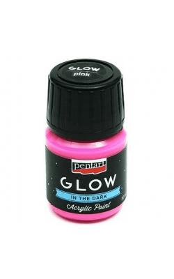 """Акриловая краска """"Pentart Сияние в темноте, 30 мл, розовый"""