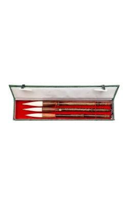 Набор из 3 кистей, волос смешанный, ручка бамбуковая, подарочная коробка, А488
