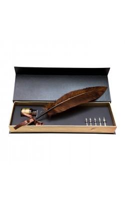 Набор для каллиграфии, гусинное перо длина 33 см, перья 6 шт., тушь жидкая - цвет красный 20 мл