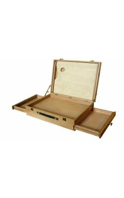 """Кейс с выдвижными в стороны ящиками, с палитрой, """"Профи"""" (бук), 330х460х130 мм"""