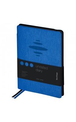 """Ежедневник """"Berlingo"""" Color Zone, А5, недатированный, с резинкой, чёрный срез, кожзам, синий, 136 л"""