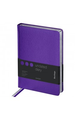 """Ежедневник """"Berlingo"""" Starlight, А5, недатированный, серебрянный срез, кожзам, фиолетовый, 160 л"""