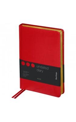 """Ежедневник """"Berlingo"""" xGold, А5, недатированный, золотой срез, кожзам, красный, 160 л"""