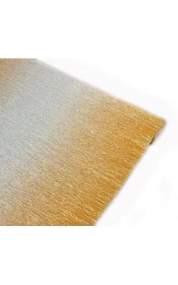 Бумага гофрированная 802/3 золотисто-серебристый металл, 50 см х 2,5 м 180г