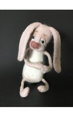 Заяц розовый (няшный), сухое валяние