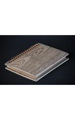 Скетчбук для зарисовок на спирали, ручная работа, блок крафт, обложка из берёзы, 12*17 см