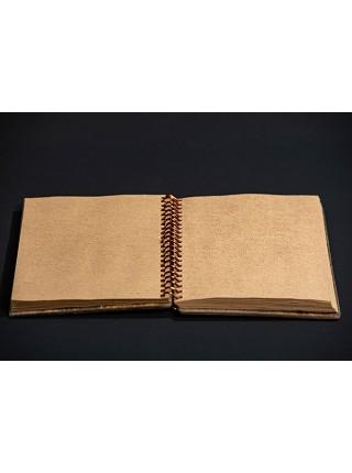 Скетчбук для зарисовок на спирали, ручная работа, блок крафт, обложка из берёзы, 14*20 см