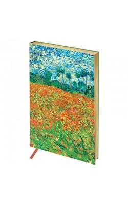 "Записная книжка ""Greenwich Line"" Vision. Van Gogh. Poppy field, А5, в кл, золотой срез, кожзам, 80 л"