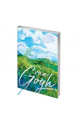 """Записная книжка """"Greenwich Line"""" Vision. Van Gogh. Fields, А6, в клет, серебряный срез, кожзам, 80 л"""