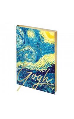 """Записная книжка """"Greenwich Line"""" Vision. Van Gogh. Night, А6, в клетку, золотой срез, кожзам, 80 л"""