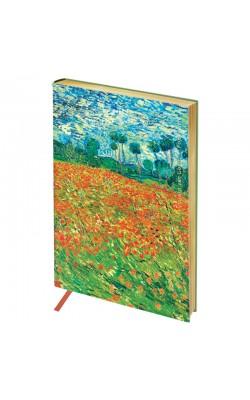 "Записная книжка ""Greenwich Line"" Vision. Van Gogh. Poppy field, А6, в кл, золотой срез, кожзам, 80 л"