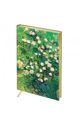 "Записная книжка ""Greenwich Line"" Vision. Van Gogh. Roses, А6, в клетку, золотой срез, кожзам, 80 л"