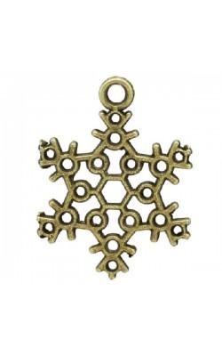 Подвеска Снежинка,античная бронза, 22,5*17мм, 2шт