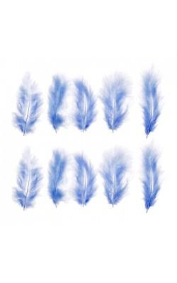 Набор перьев для декора 10 шт, размер 1 шт 10*2, цвет голубой