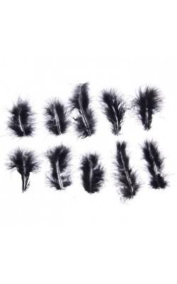 Набор перьев для декора 10 шт, размер 1 шт 10*2, цвет черный