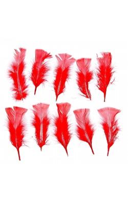 Набор перьев для декора 10 шт, размер 1 шт 16*4, цвет красный